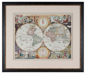 Framed Antique Map of the World