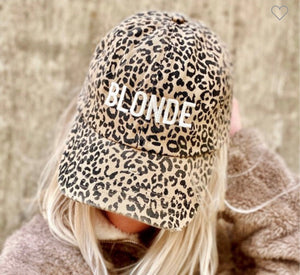 Blonde Cheetah Print Cap with Free Shipping