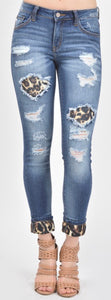 Distressed Leopard Patch Jeans with free shipping