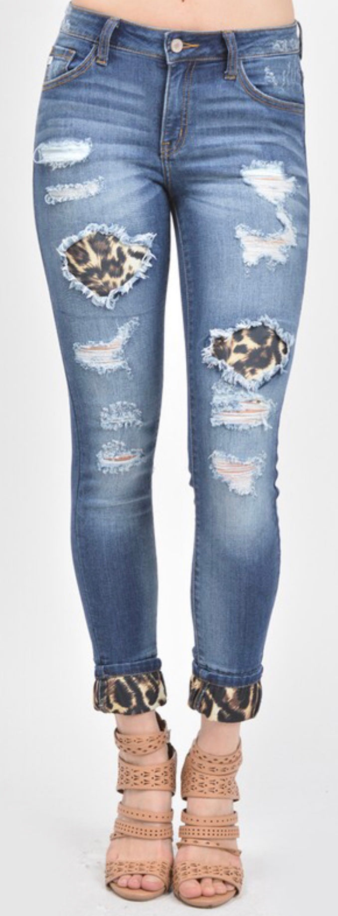 Distressed Leopard Patch Jeans free shipping