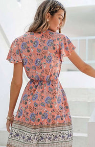Floral Print V Neckline Mini Dress with Free Shipping