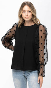 Mesh Dots Long Sleeve Black Top with Free Shipping
