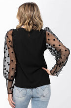 Load image into Gallery viewer, Mesh Dots Long Sleeve Black Top with Free Shipping