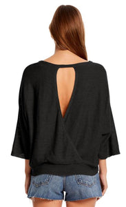 3/4 Sleeve Cutout Back Shirt Free Shipping