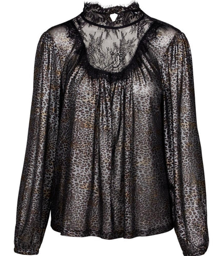 Sheer Cheetah Print shirt with Lace Neck Inset with Free Shipping