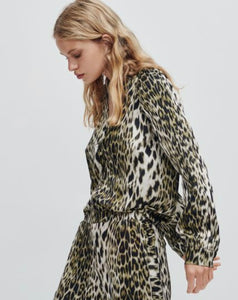 Green Leopard Button Front Shirt Free Shipping