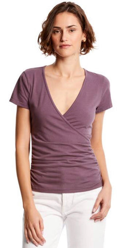 Bella V-Neck Shirt in Acai Free Shipping