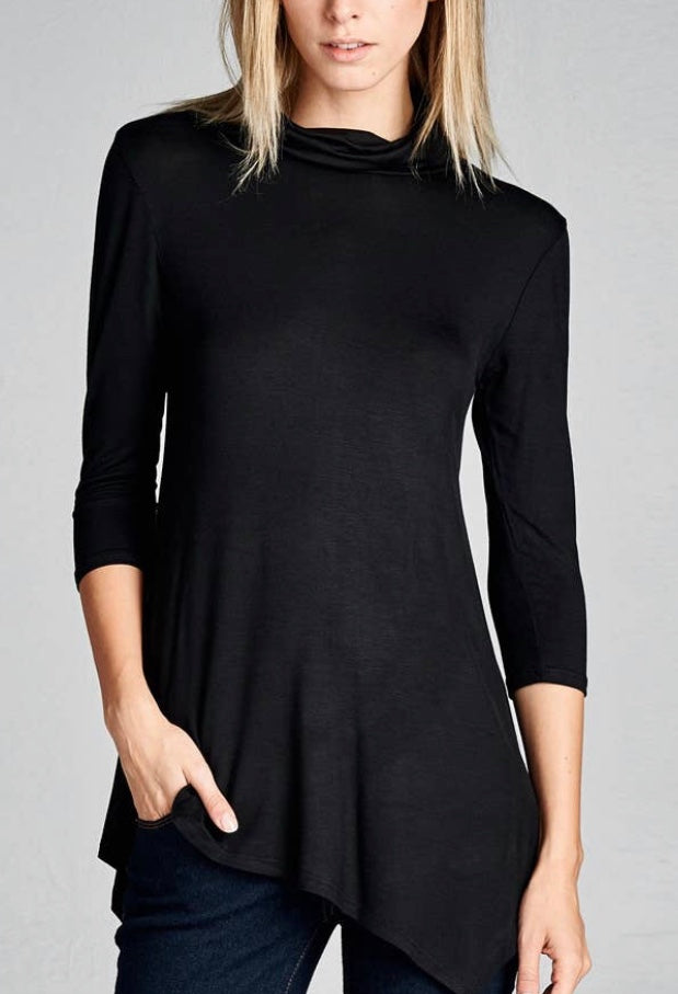 Mock Turtle Neck Shirt with 3/4 Sleeves with Free Shipping