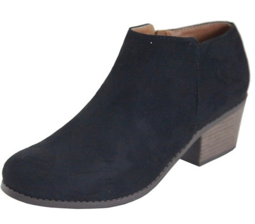 Halo Black Suede Ankle Bootie with Free Shipping