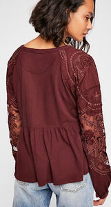 Lace Sleeve Baby Doll Shirt Free Shipping