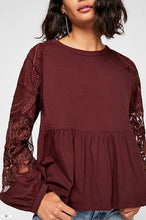 Load image into Gallery viewer, Lace Sleeve Baby Doll Shirt Free Shipping
