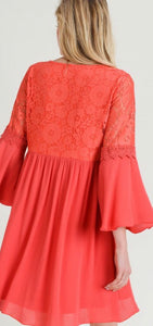 Coral Baby Doll Dress Free Shipping
