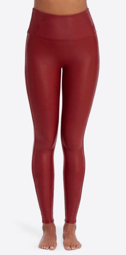 Faux Leather Legging in Crimson with Free Shipping