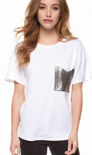 Tee with Contrasting Metallic Silver Pocket with Free Shipping