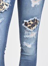 Load image into Gallery viewer, Distressed Leopard Patch Jeans with free shipping