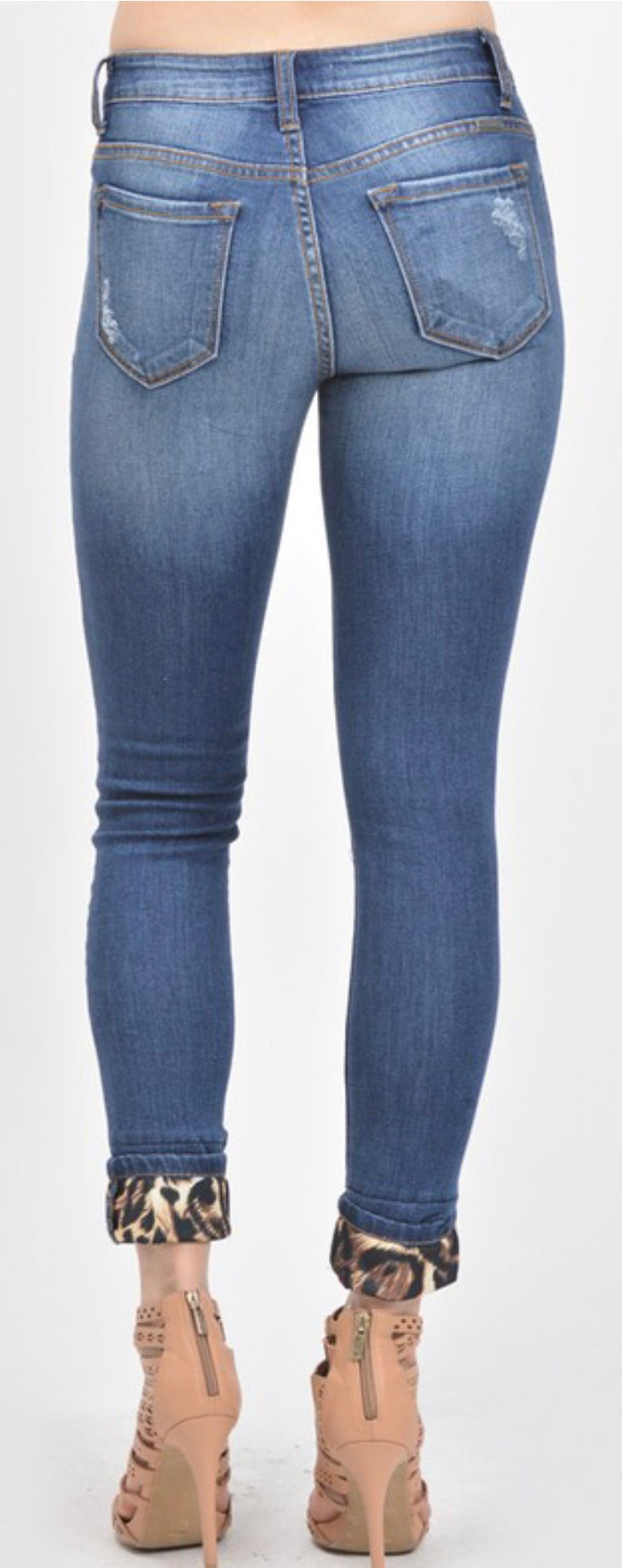 Distressed Leopard Patch Jeans With Free Shipping Wynk Boutique Hastings