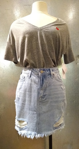 Distressed Denim Skirt with Free Shipping in the USA