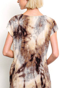 Pleated Tie Dye Dress with Pockets & Free Shipping