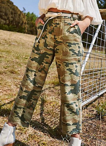 Camouflage wide leg cargo pant Free Shipping