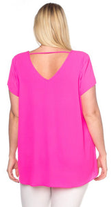 Fuchsia Pleat Front Top Free Shipping
