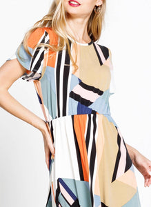 Geometric Print Dress with Free Shipping