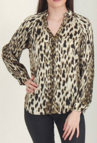 Green Leopard Print Button Front Shirt with Free Shipping