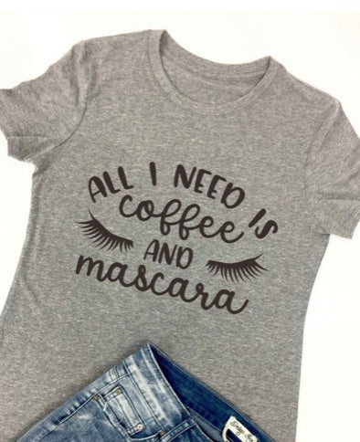 Coffee & Mascara Graphic Tee with Free Shipping