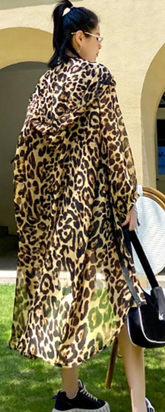 High Low Oversized Hoodie in Leopard Print with Free Shipping