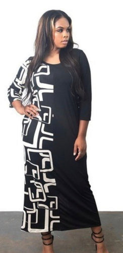Printed Black & White Maxi Dress with Free Shipping
