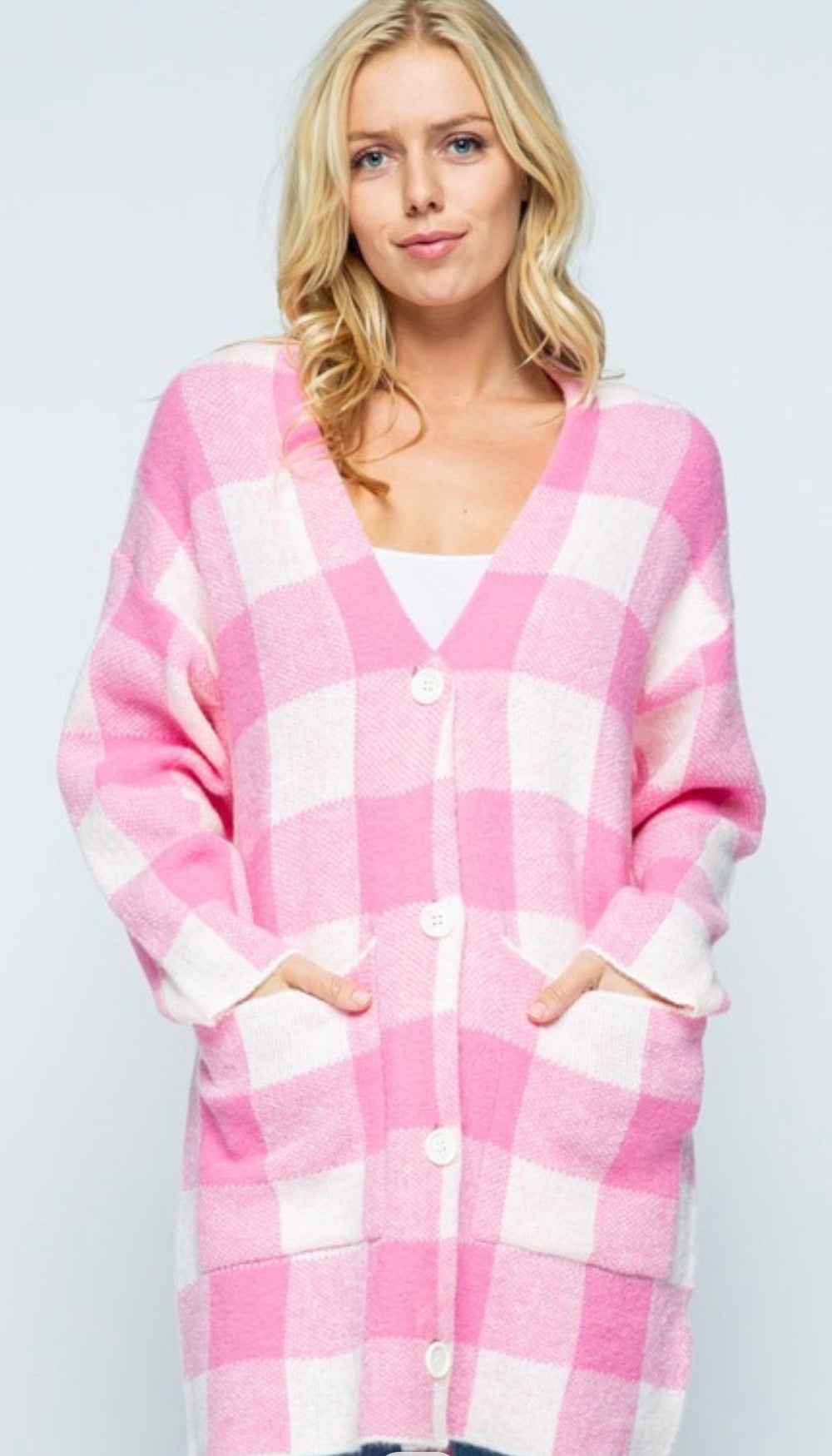 Pink Buffalo Plaid Cardigan with Free Shipping