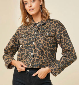 Leopard Print Denim Jacket with Free Shipping
