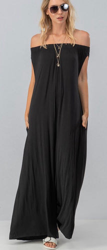 Black Off Shoulder Jumpsuit with Free Shipping