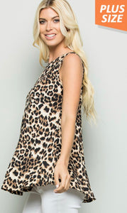 Animal Print Sleeveless Shirt with Free Shipping