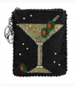 Martini Beaded Coin Purse/Key Fob Free Shipping