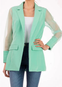 Sheer Sleeve Casual Suit Jacket with Free Shipping