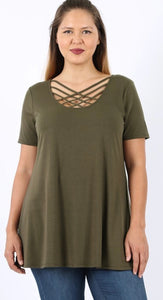 Lattice Tunic in Olive with Free Shipping