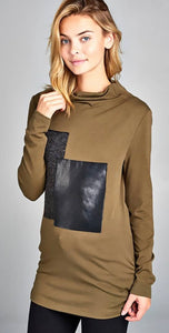 Long Sleeve Turtleneck Sweater with Block Design with Free Shipping