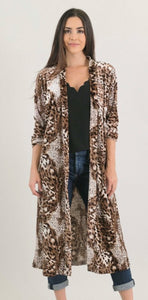 Long Velvet Leopard Kimono with Free Shipping