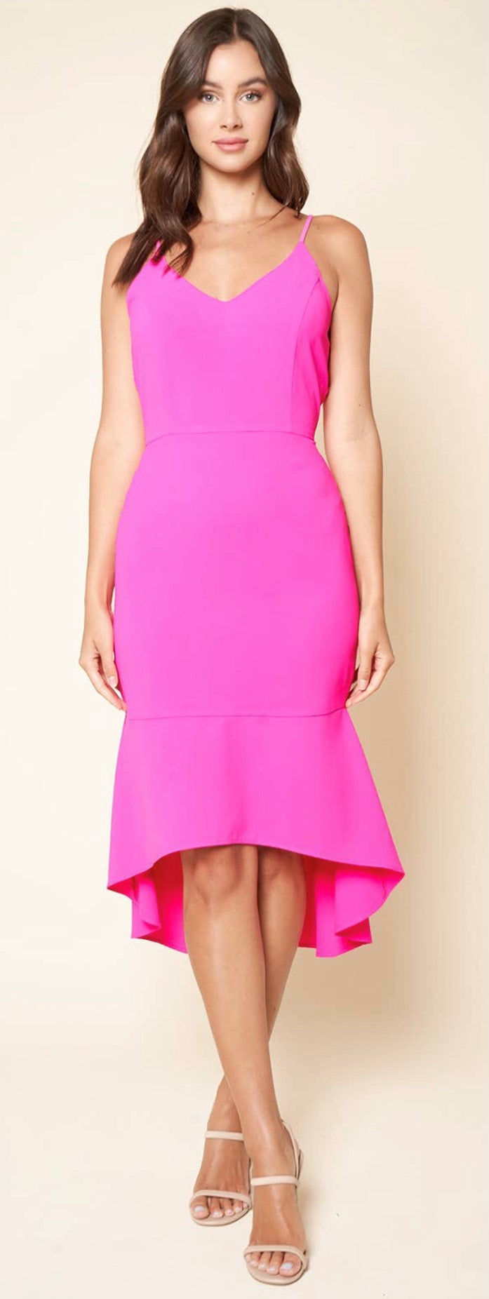 Pink Ruffle Dress Free Shipping