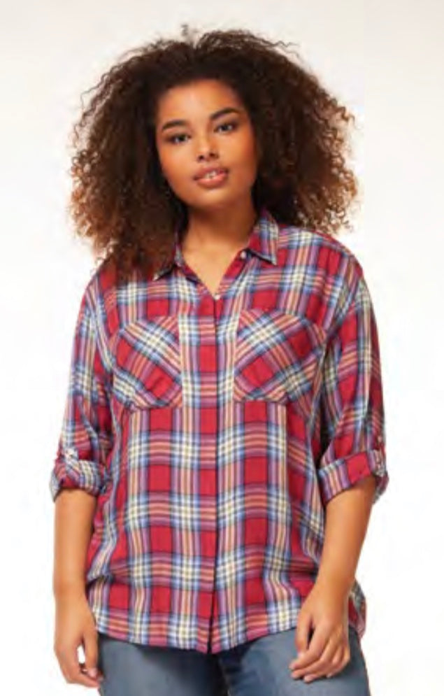 Plaid Button Front Shirt with Free Shipping