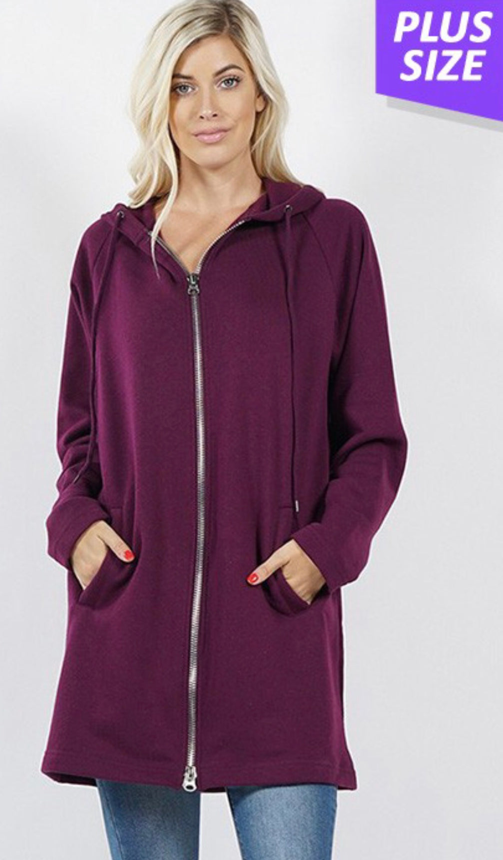 Long Sleeve Zip Hoodie with Free Shipping