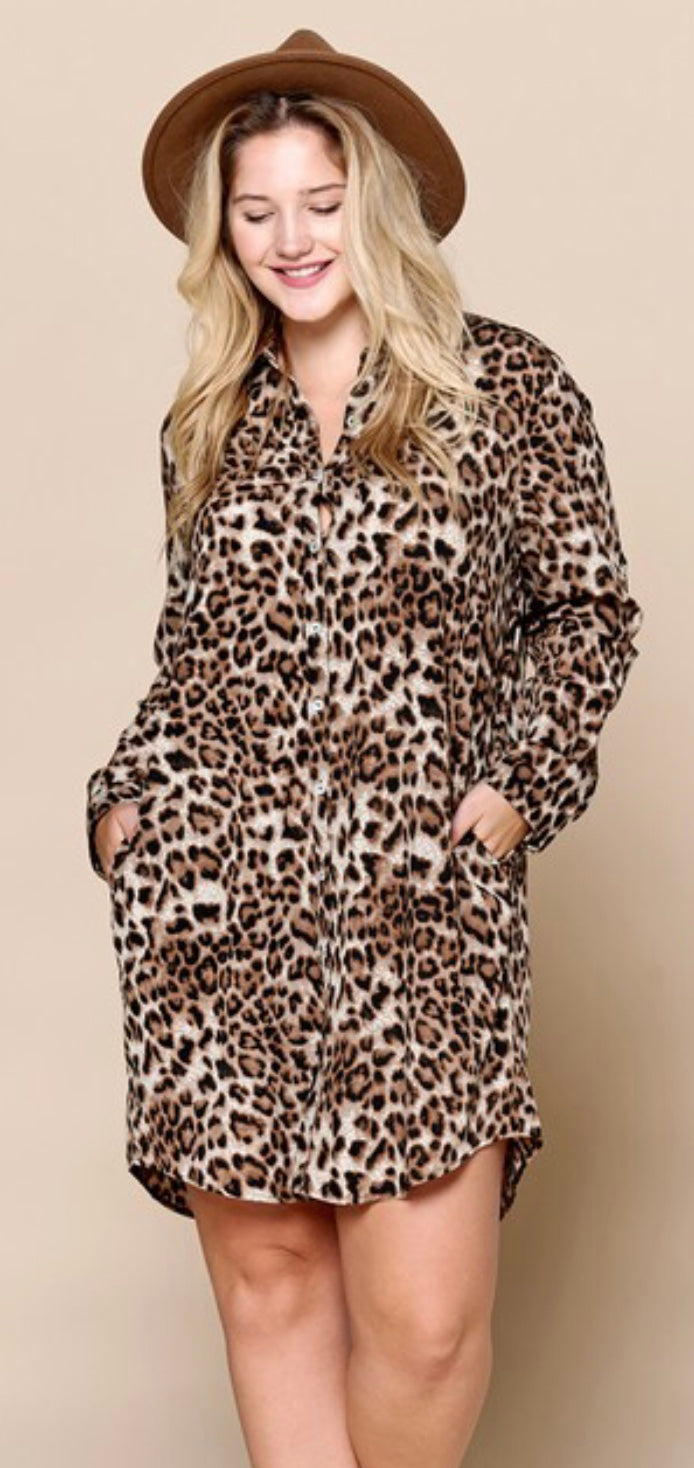 Cheetah Print Button Front Dress with Free Shipping
