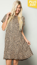 Load image into Gallery viewer, Plus size Leopard Print Dress with pockets with Free Shipping