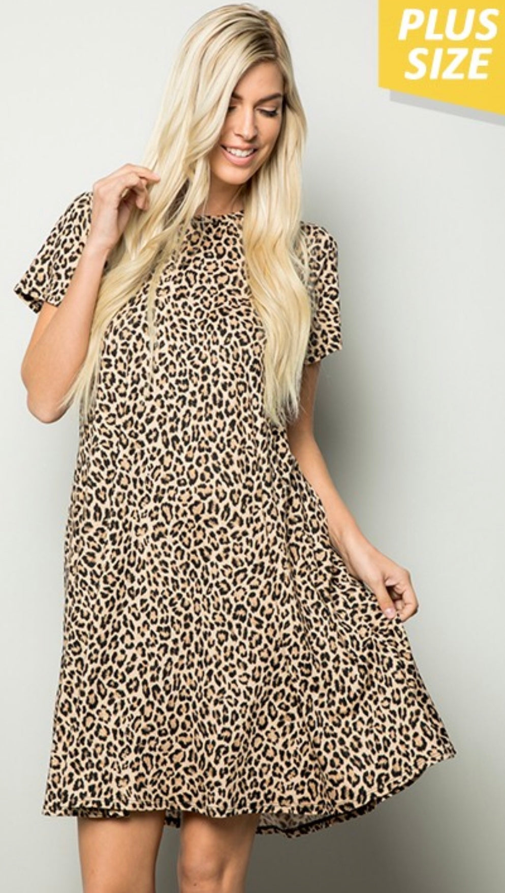 Plus size Leopard Print Dress with pockets with Free Shipping