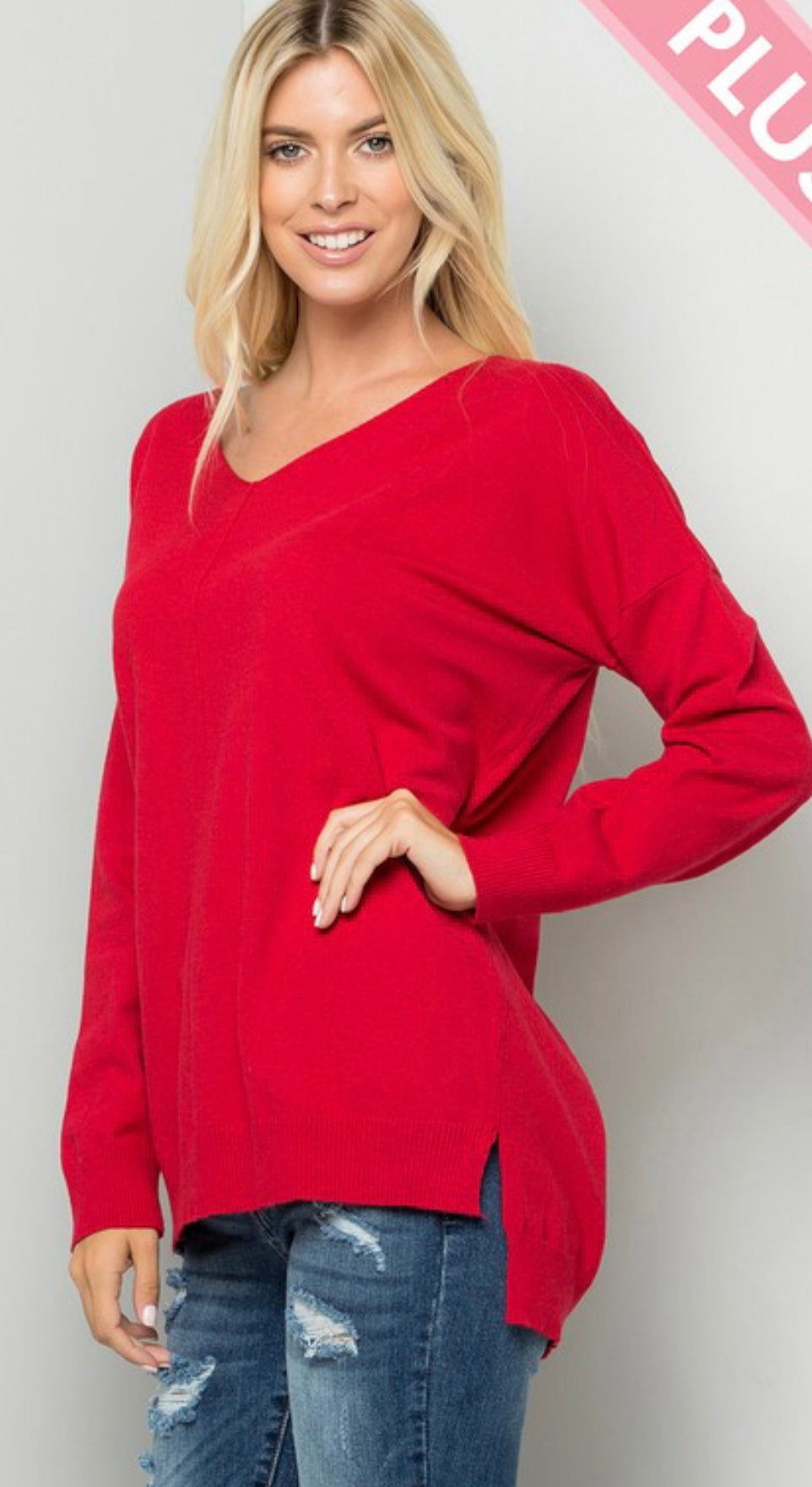 Cozy Knit Red Sweater with Free Shipping