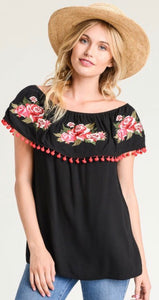 Embroidered Off Shoulder Blouse Free Shipping