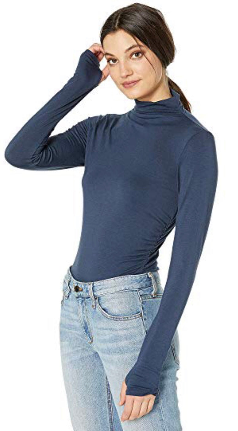 Ruched Mock Neck Long Sleeve Tee with Free Shipping