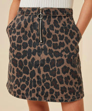 Load image into Gallery viewer, Leopard Print Denim Mini Skirt with Free Shipping