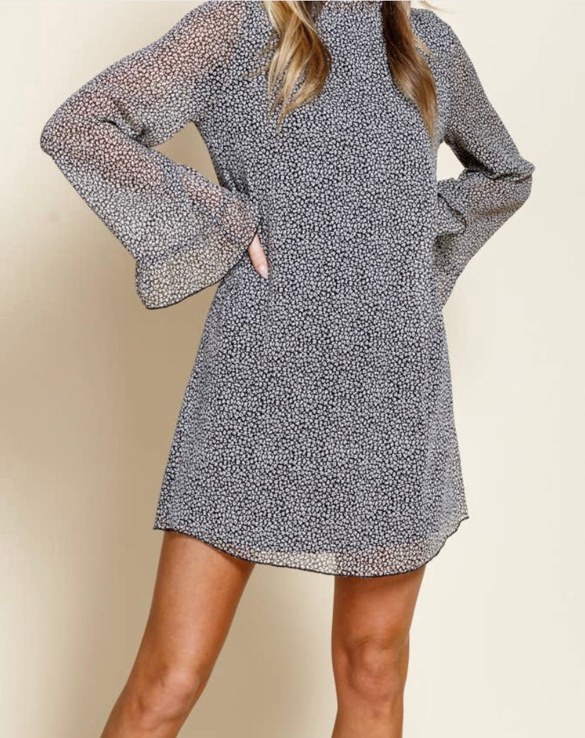 Mini Cheetah Print Dress with bell sleeves with Free Shipping