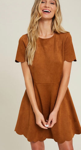 Suede Scallop Hem Dress with Free Shipping